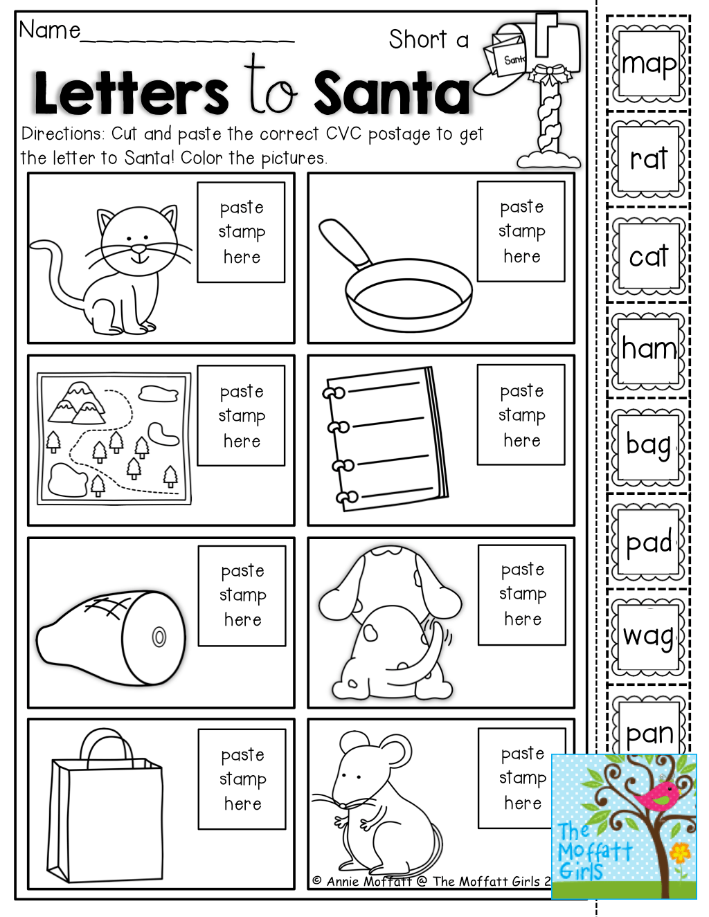 Cut And Paste Cvc Worksheets For Kindergarten Cut Best