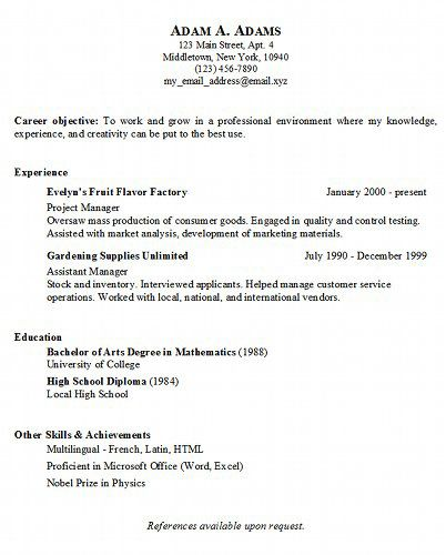 Sample Basic Resumes Basic Resume Template 51 Free Samples