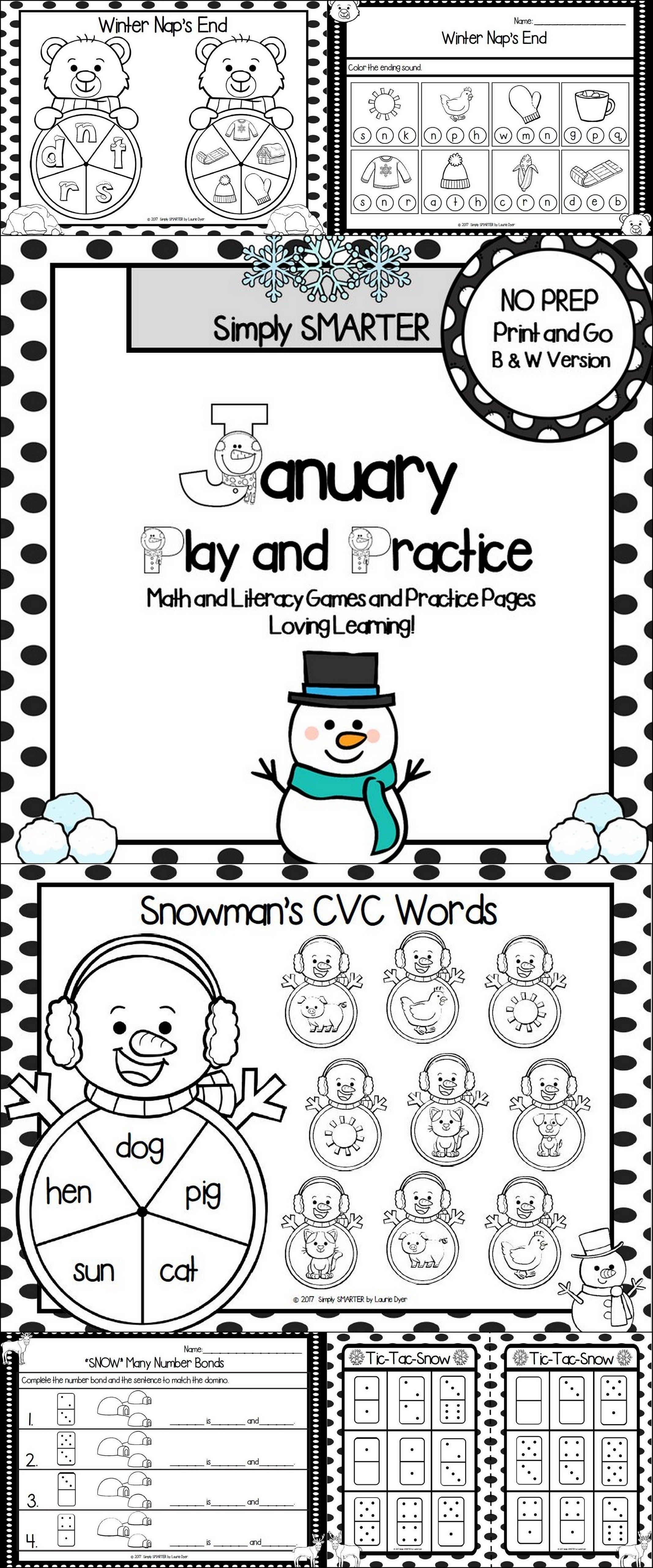 January Play And Practice No Prep Math And Literacy Games