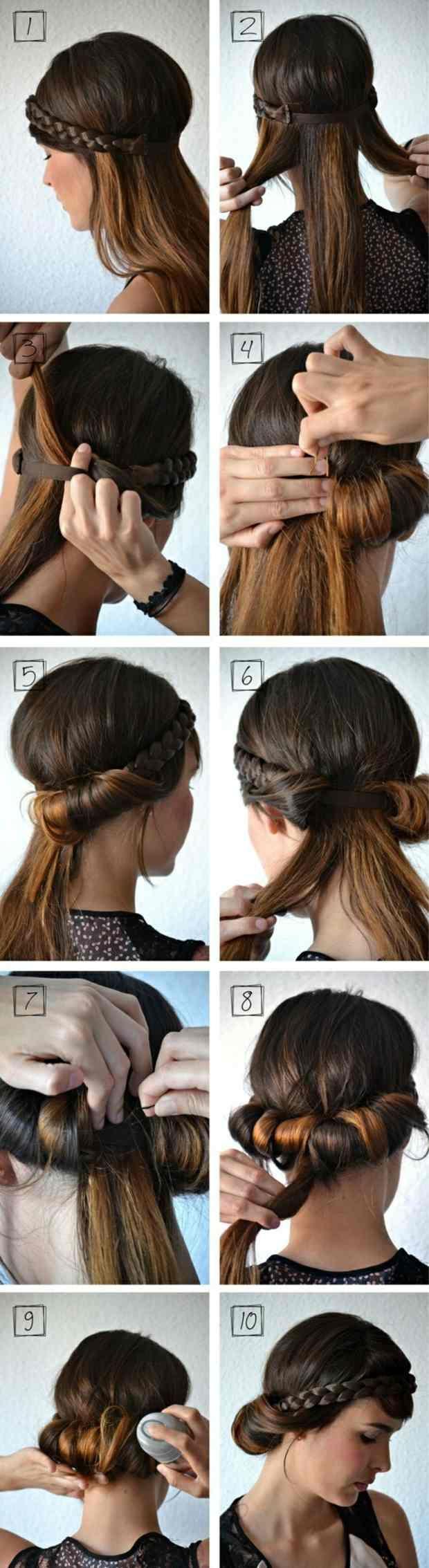 Hochsteckfrisuren Mittellange Haare Haarband Hair Pinterest