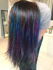 purple and blue balayage dip dye