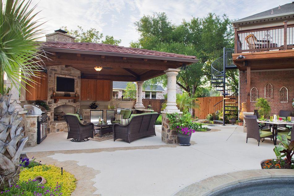 cabana with bar and fireplace