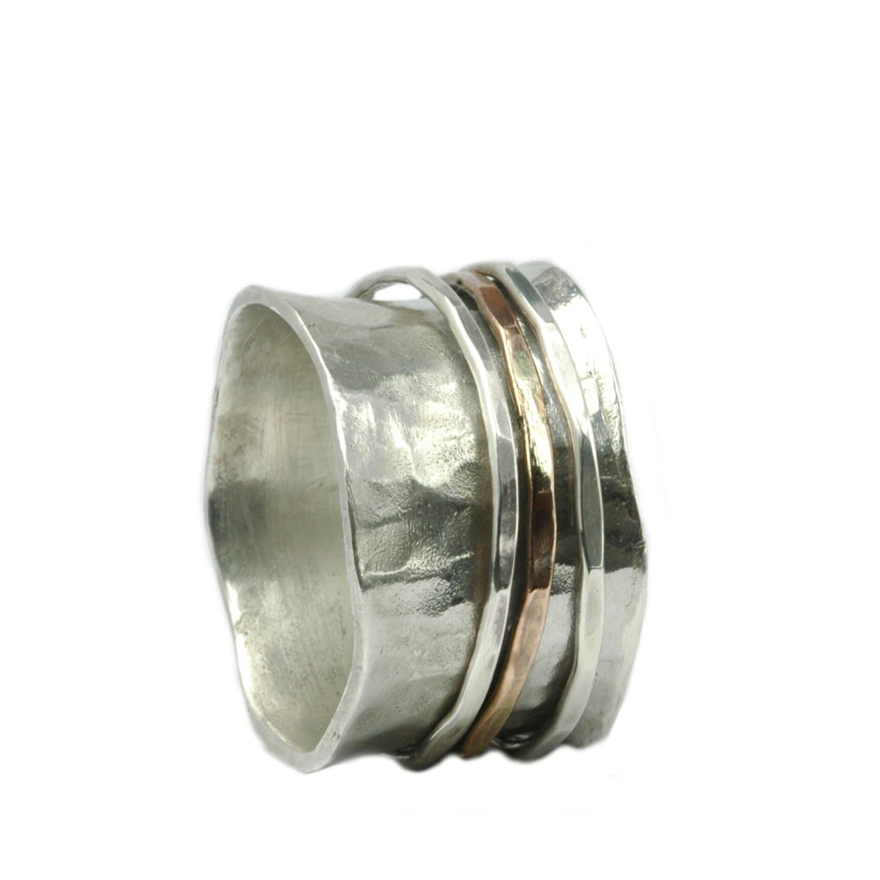 Breiter Ring Sterling Silber mit bewegliche Silber und