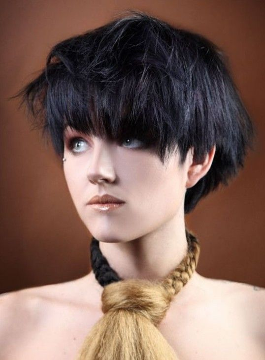 2014 Hairstyles Short Black Bob Hairstyle With Bangs For Thick