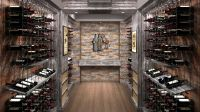 Rustic/Modern custom wine cellar featuring the Cable Wine ...