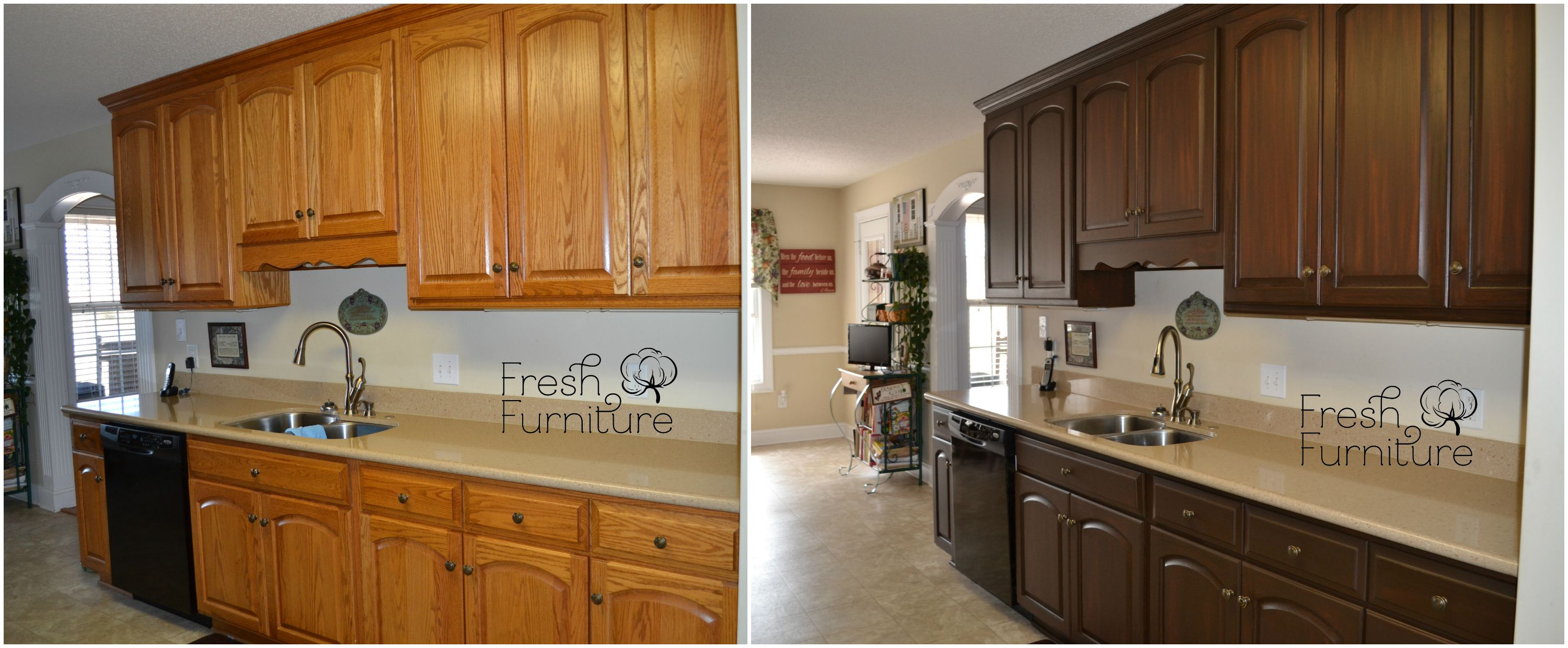 Oak Cabinet Makeover With General Finishes Antique Walnut