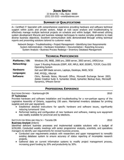 Resume It Technician It Support Technician Cv Sample Job