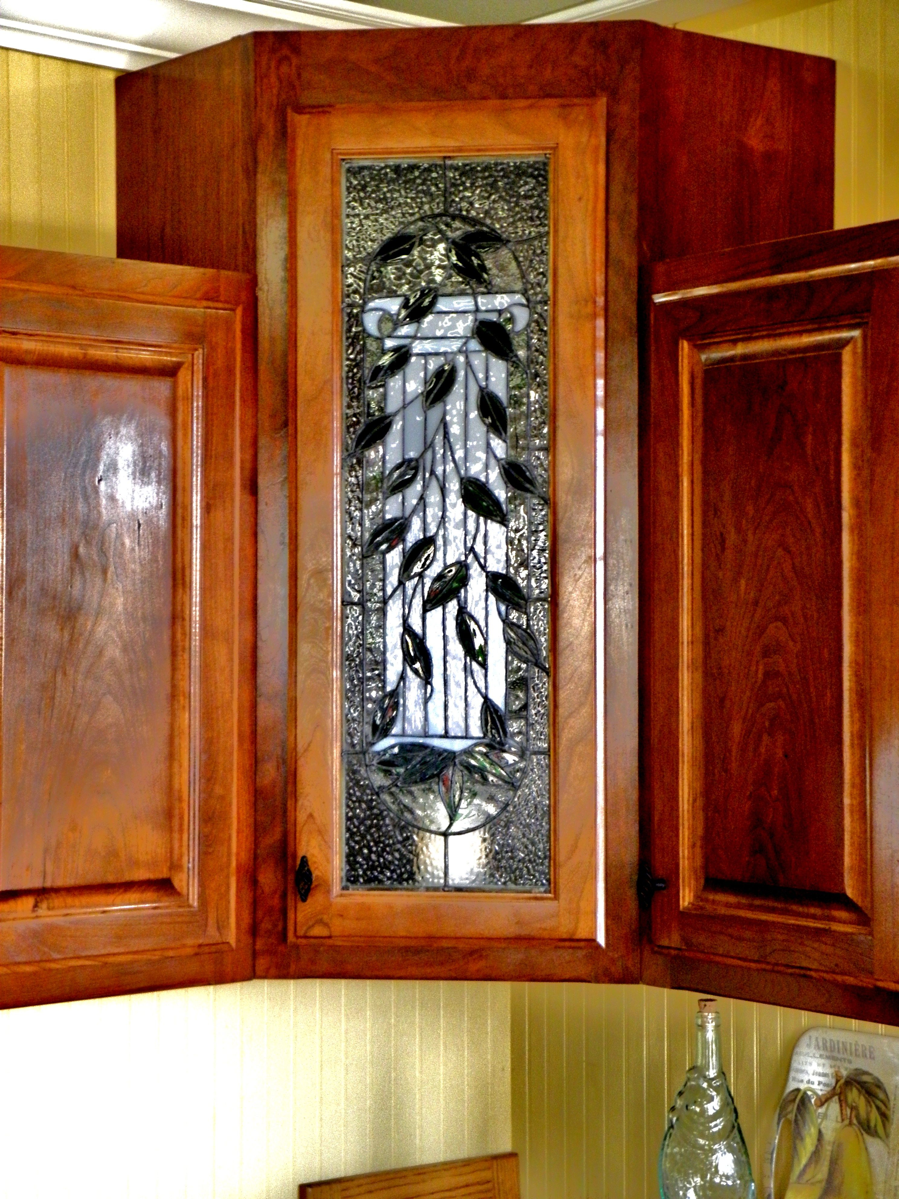 wood and glass kitchen cabinets stainless steel trash cans cabinet doors n 39 stone church 39s stained