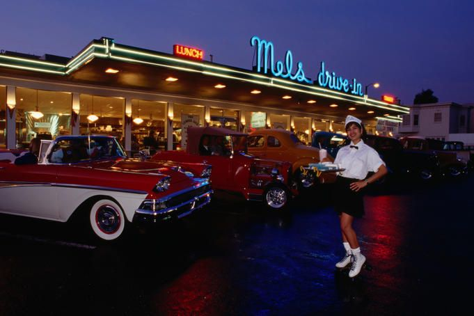 Cars Wallpaper Infront Of Skyline Roller Skating Waitress Outside 1950 S Diner With Classic