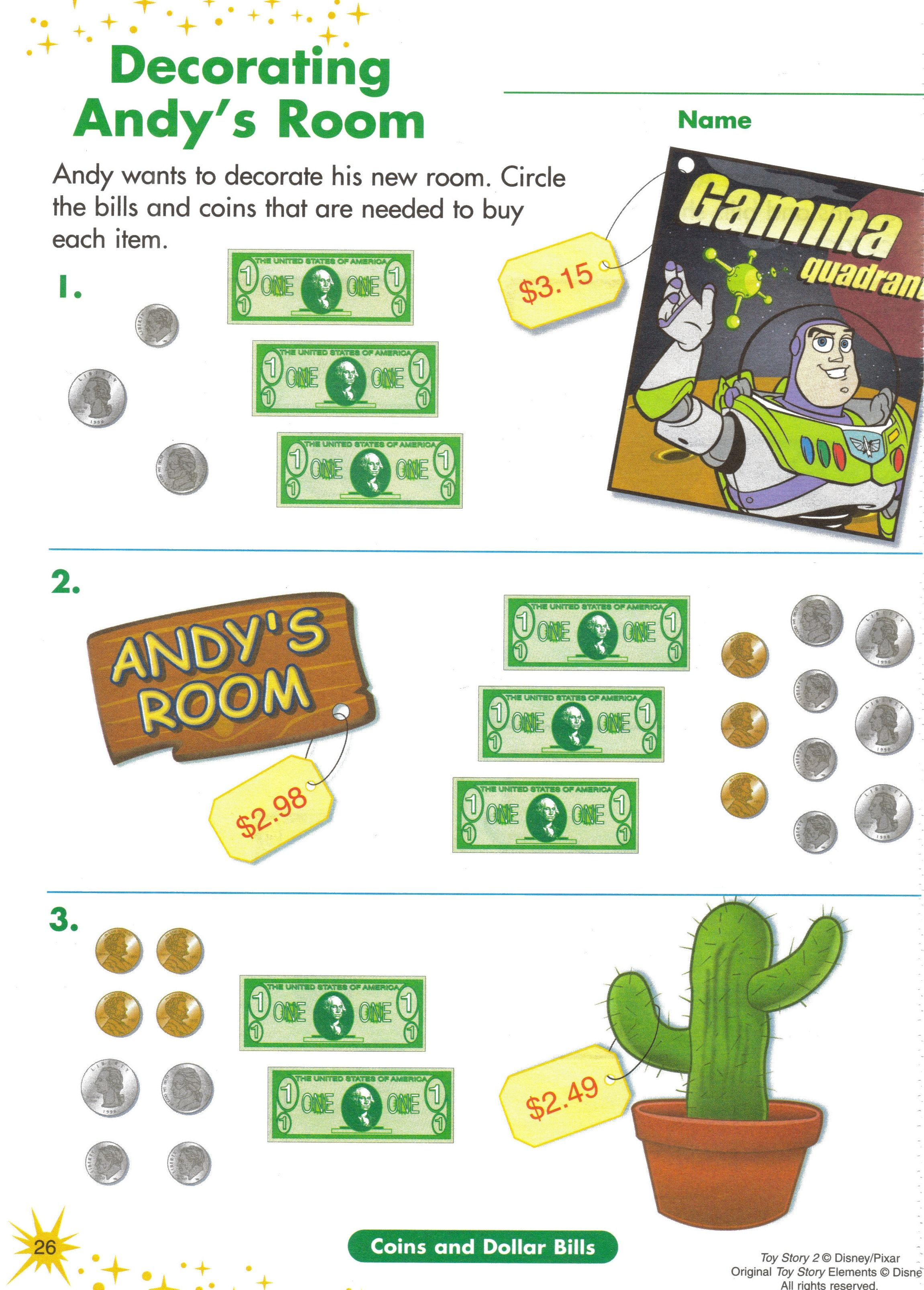 10 Math Activity Toy Story Money Work Sheet Use Toy Money