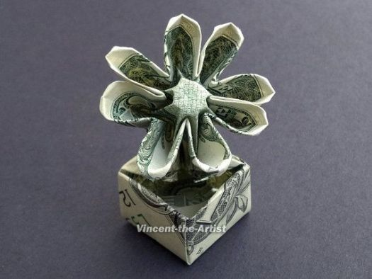 Origami flowers out of dollar bills tutorial origami handmade flower in a pot dollar origami great gift idea plant made of mightylinksfo Choice Image