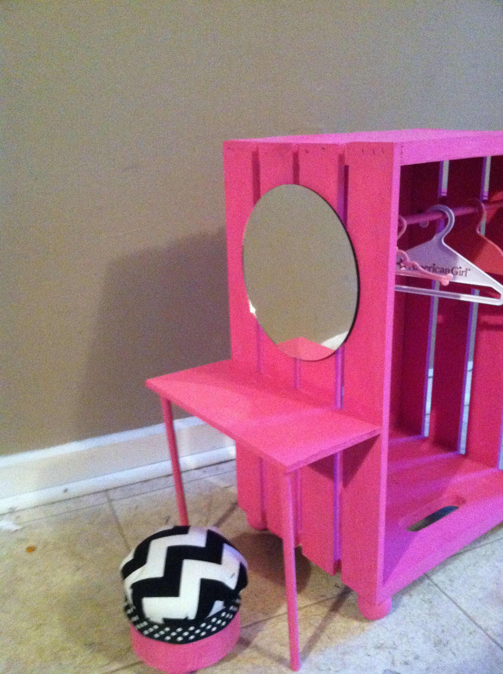 Closet And Vanity All In One Looks Like A Painted Wooden Crate With A Mirror And Added Piece Of
