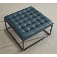 Healy Teal Leather Tufted Ottoman (Teal), Blue (Foam ...