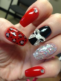 Coffin nails, red, black, silver, glitter, bling, cheetah ...