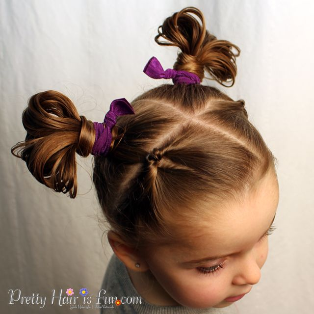 Pretty Hair Is Fun How To Do Fan Buns; Easy Toddler Hairstyle