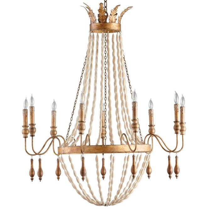 Alexandra 9 Light Chandelier By Cyan Wrought Iron And Wood With Gold Finish