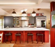 Contemporary Island Style Red kitchen, grey cabinets. Oh ...