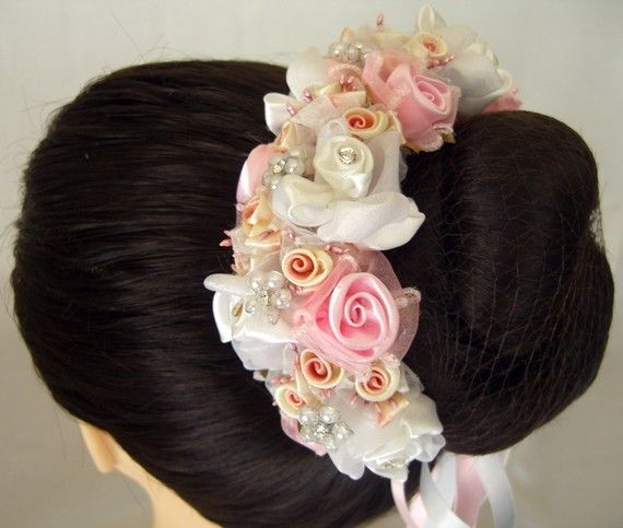 Bun Wrap Hair Piece Accessories With Flowers Crystals And