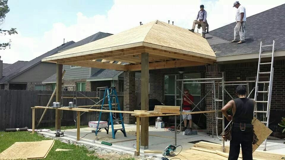 New patio cover construction  GM Outdoor Living Pool