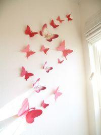 15 Butterflies, Paper, Wall Decor, Hanging, Decal, 3D