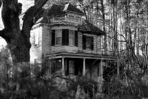 Abandoned Haunted House In Woods Night
