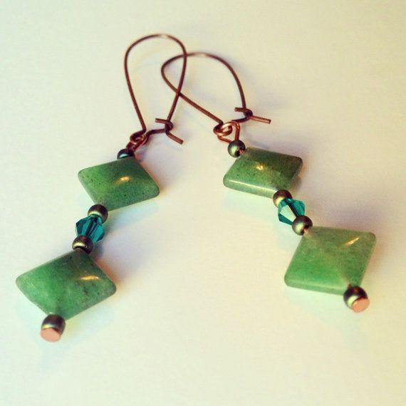 Shades of Green Aventurine Gemstone Emerald Green Earrings