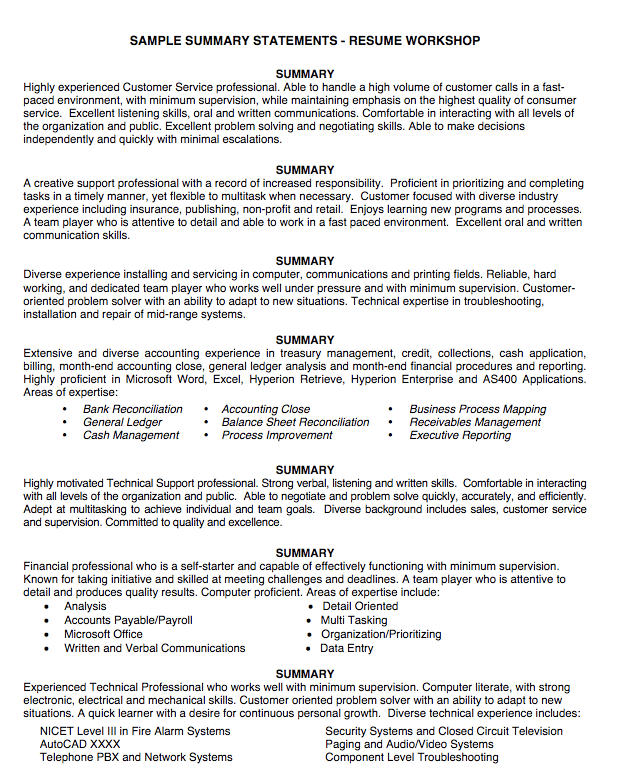 Sample Summary Statement Resume Exampleresumecv Org