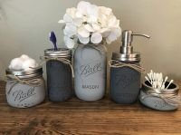 Rustic Bathroom Decor, Mason Jar Bathroom Set, Mason Jar ...