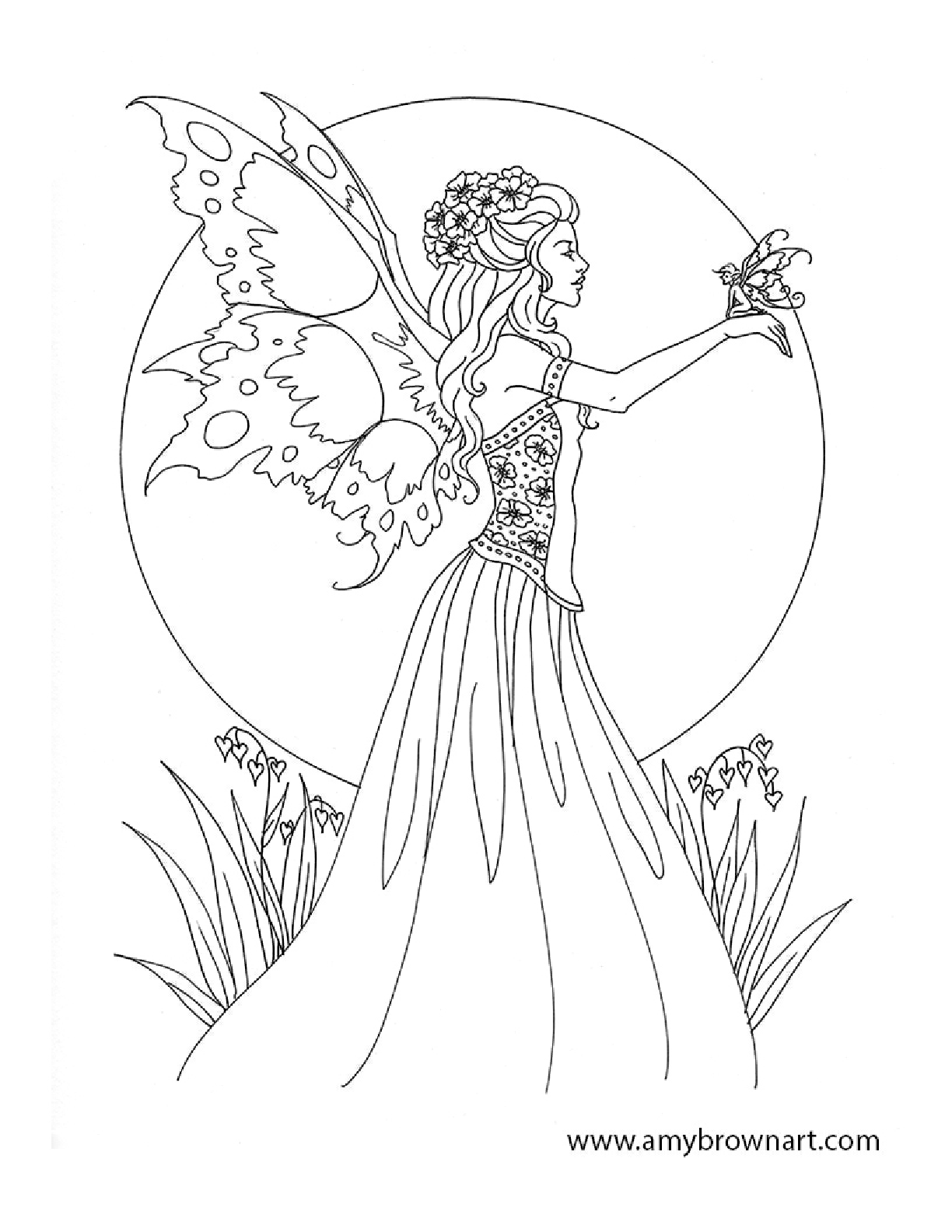 Adult Faerie Queen Coloring Page Garden Fairies Adult Colouring