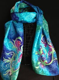 organic design silk scarf | Hand painted silk scarves ...