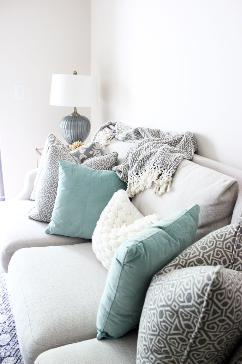 Bright White Living Room Printed Pillows Neutral Couch
