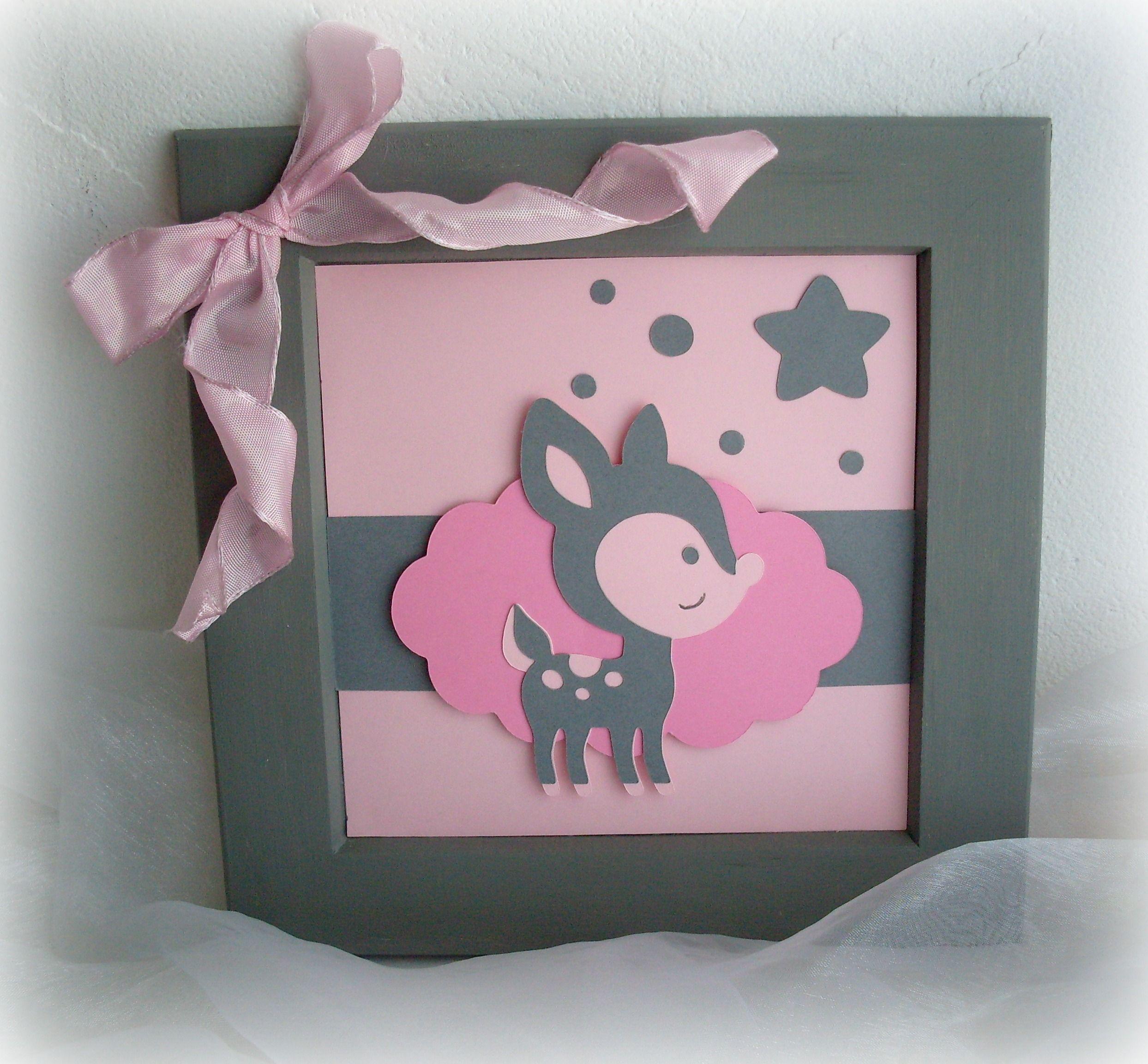 Cadre pour chambre denfant  fille Rose et gris motif Faon  paper  Pinterest