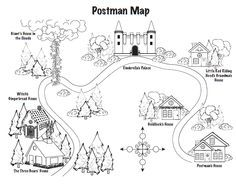 Red Riding Hood and Jolly Postman to teach Maps and jolly