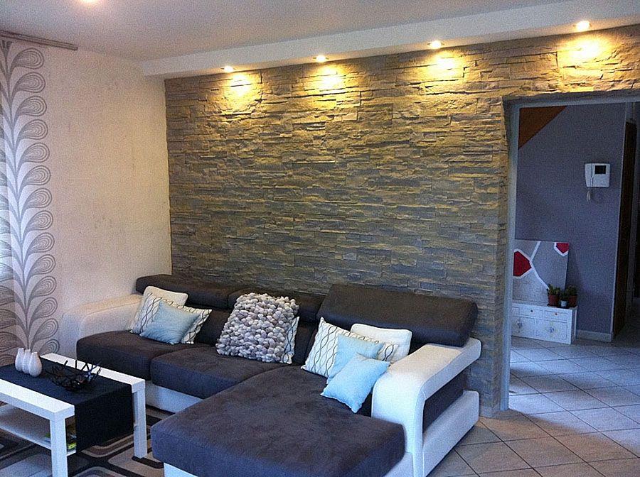Steinwand beleuchtet Lascas  Wandgestaltung Wohnzimmer