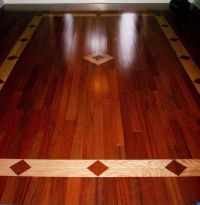 brazilian cherry hardwood floor with a red oak inlay ...