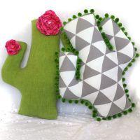 bold geometric cactus pillow, original handmade one of a ...
