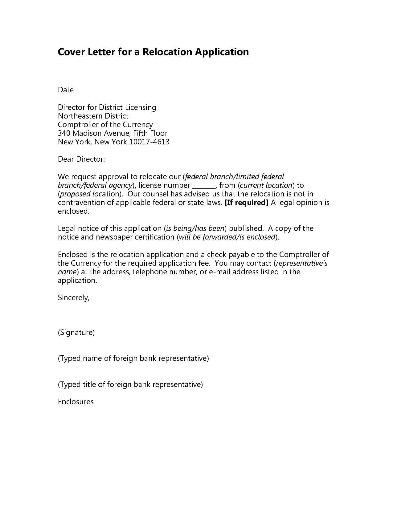 Letter Stating RelocationRelocation Cover Letter Cover Letter