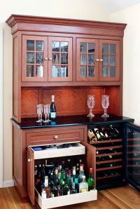 Bar idea- with pull out cabinet for heavy liquor bottles ...
