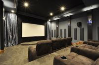 Brown microfiber theater couches with blue grey and black ...