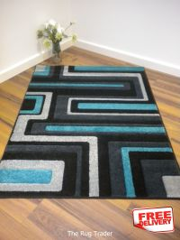 black and turquoise area rugs | Viola 921Q Black Grey ...