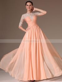 Appliqued Sheer Half Sleeved Chiffon A Line Prom Dress ...