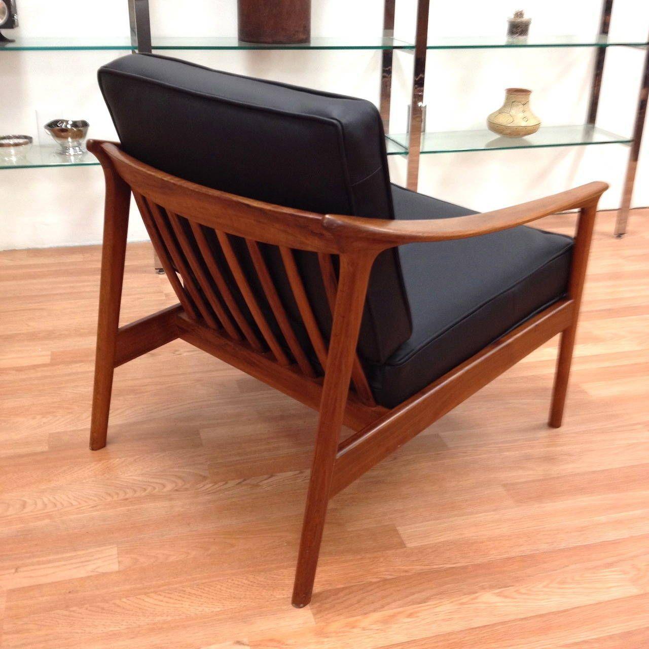 Pair of DUX Danish Modern Walnut Black Leather Lounge