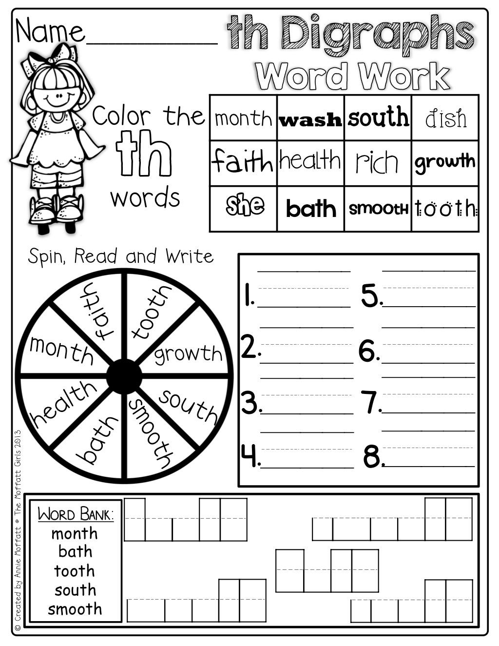 Digraphs Word Work Color The Digraph Words Spin And Write A Digraph And Box Up The Digraphs