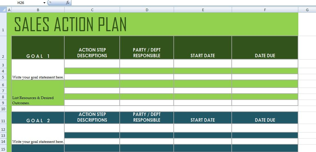 Project Action Plan Template Xls