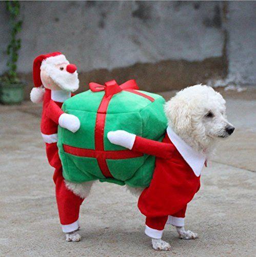 Foox Pet Christmas Costumes Dog Suit with Cap Santa Suit