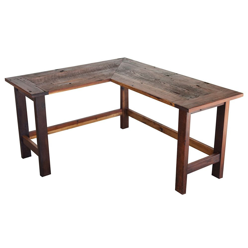 This is a reclaimed barnwood Lshaped desk that has been