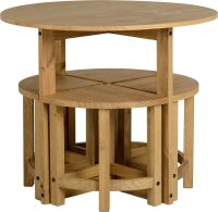 Corona Stowaway Dining Set Mexican Solid Pine 4 Stools