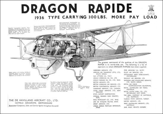 Iconic Aviation Ad De Havilland Dragon Rapide 1936