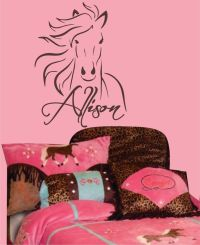 Western Horse Pony vinyl Wall Decal - Custom name for teen ...