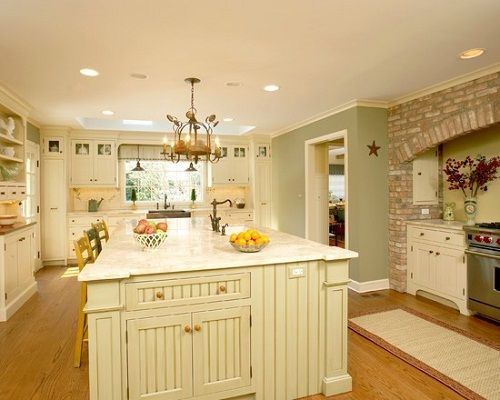 Traditional White Country Kitchen Painted Color Love all the colors in this kitchen  Paint
